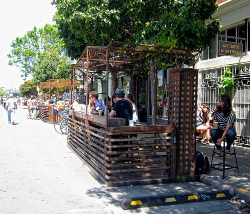 Parklet in front of Four Barrel Coffee (Photo by: San Francisco Planning Department)