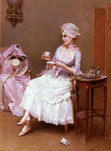 A woman (Aline Masson) drinking a cup of chocolate, by Raimundo Madrazo