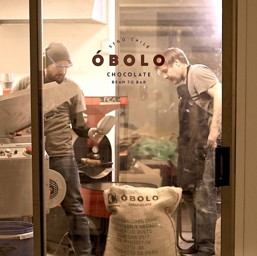 Roasting cocoa beans at OBOLO chocolate in Santiago, Chile